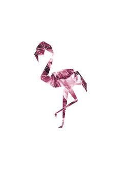 Geometric flamingo, poster