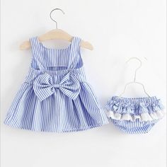 Adorable striped bubble dress with bloomers! Summer Outfits, Girl Outfits, Summer Stripes, Pink Kids, Baby Girl Newborn, Baby Girls, Outfit Sets, Striped Dress, Baby Dress