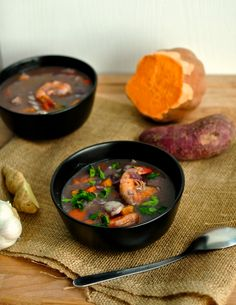This Caribbean coconut seafood soup is inspired by the Caribbean flavours of Costa Rica. It& luxurious with perfectly cooked seafood, hearty root vegetables and coconut milk. Chicken Meatball Soup, Seafood Soup Recipes, Caribbean Recipes, Caribbean Food, Fish Soup, Good Food, Yummy Food, Second Breakfast, Just Cooking