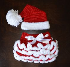 Santa Hat & matching Tutu Handmade Crochet Baby by CubbyCreations