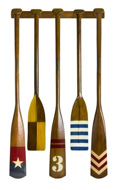 CaptJimsCargo - Complete Set of 5 Royal Barge Oars with Rack Wooden Boat Decor, $539.99 (http://www.captjimscargo.com/authentic-models-home-decor/decorative-wood-oars/complete-set-of-5-royal-barge-oars-with-rack-wooden-boat-decor/) This listing is for a complete set of 5 Royal Barge Oars with an included wall rack.