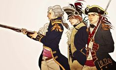 Marquis de Lafayette. Alexander Hamilton. John Laurens. I just got this super mega fully-colored encyclopedia about the uniforms in the American Rev and holy bajeezus it's so helpful and just 10/10...