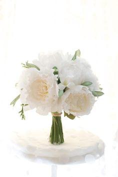 Paper Flower Peony, white and cream handmade peony, peony wedding bouquet, paper flowers via Etsy