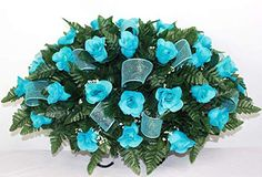 XL Turquoise Roses Artificial Silk Flower Cemetery Tombstone Grave Saddle Crazyboutdeco Cemetery Flowers