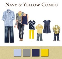 Family Outfits: Navy & Yellow Combo