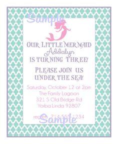 Custom Mermaid Invitation DIY by apetitesoiree on Etsy, $15.00