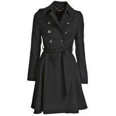 Black Cauldon Flared Skirt Trench Coat ❤ liked on Polyvore featuring outerwear, coats, flared coat, flare coat, color block trench coat, long sleeve coat and lapel coat