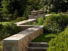 Greenwich Estate - Bronze Lanterns & Stone Walls -  Gregory Lombardi Design, Landscape Architecture
