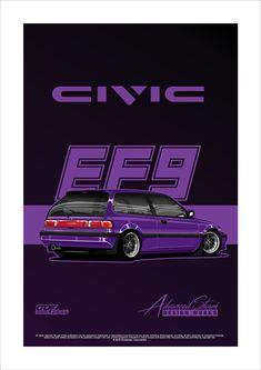 Honda Civic Car, Honda Civic Hatchback, Civic Ef, 3d Art Projects, Jdm Wallpaper, Car Vector, Car Logos, Car Posters, Jdm Cars