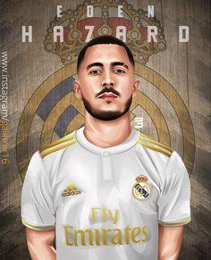 Eden Hazard, Football Art, Football Players, Hazard Real Madrid, Equipe Real Madrid, Logo Real, Soccer, Baseball Cards, Illustration