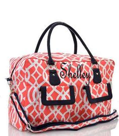 Monogram Coral weekender bag/Personalized Coral weekender Bag/over night bag/duffle/gym/travel bag/dance bag by sewsassybootique on Etsy