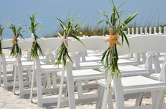 Beach Wedding Decoration for Chairs by BeachyWreaths on Etsy, $33.00