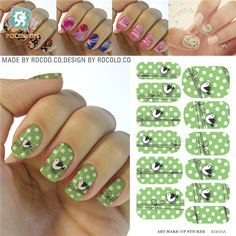 For nails Design Nail Tools Patch Full Cover nail sticker Personalized Birds Painted Water Transfer Foils Stickers