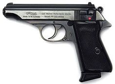 The Walther PP (Polizeipistole, or police pistol) series pistols are blowback-operated semi-automatic pistols, developed by the German arms manufacturer Walther. It features an exposed hammer, a traditional double-action trigger mechanism, a single-column Walther Pp, Weapons Guns, Guns And Ammo, Rifles, Surplus Militaire, Pocket Pistol, Cool Guns, Self Defense, James Bond