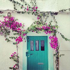 Une devanture de maison fleurie et de jolies portes c'est courant aux Iles Baléares. Ici nous sommes à Ibiza, ville de fête et de farniente, mais aussi de visites. Profitez de vos vacances pour aller découvrir cette ïle des Baléares aussi intéressante que sublime. #Ibiza #Spain