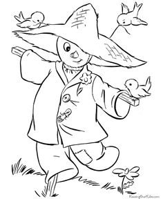 Halloween scarecrow coloring pictures - These free, printable Halloween coloring pictures are fun for kids! Scary bats, cats and kids Halloween coloring pictures, sheets and pages.