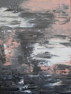 Pink and Grey Abstract Painting 30x40 on by JenniferFlanniganart