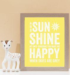 You Are My Sunshine Wall Art. Kids wall art and wall prints.  Shop Love JK for nursery decor and nursery ideas.