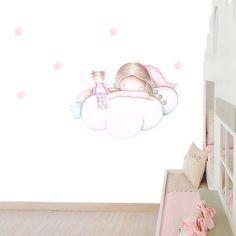 Decoración infantil Il Mondo di Alex, Papel mural efecto pintado a mano, WENDY SOBRE NUBE ... personalizado con nombre o frase y a medida.