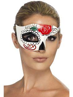 Sugar Skull -puolimaski. Tämä Sugar Skull-puolimaski käy sekä miehille että naisille ja sillä voi täydentää Sugar Skull-henkiset naamiaisasut tai käyttää yksittäisenä väriläiskänä.