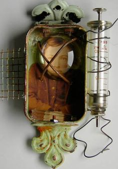 SYRINGE MADNESS Mixed Media Altered Art Tin   Theresa Martin - Reliquary  http://www.art-e-zine.co.uk/theresa.html