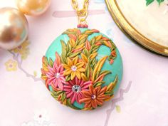 Retro+Flower+Necklace+Polymer+Clay+Spring+Necklace+by+Sweetystuff,+£35.00