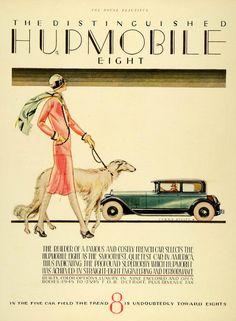 1926 print for the Hupmobile 8. Artist Larry Stults. Flapper walks her borzoi
