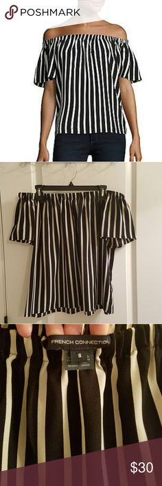 French Connection off the shoulder top Stunning black and cream vertical striped off the shoulder blouse by French Connection. Light, silky material is perfect for spring and summer. Worn once. In like new condition. Smoke free home. French Connection Tops Blouses