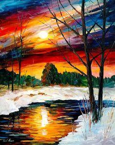 "Winter Sun Reflection — PALETTE KNIFE Landscape Modern Textured Oil Painting On Canvas By Leonid Afremov - Size: 24"" x 30"" (60 cm x 75 cm) by AfremovArtStudio on Etsy https://www.etsy.com/listing/219725623/winter-sun-reflection-palette-knife"