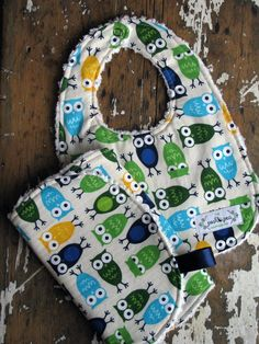 Chenille Baby Bib & Burp Set - Gender Neutral - Owls in Blue/Green/Yellow-  LOVE!