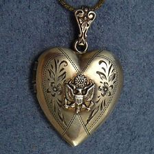 WWII Sweetheart Locket Necklace Vermeil Sterling Army Eagle Photos Inside