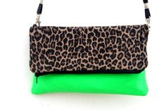 "SALE Green neon and leopard clutch bag, neon handbag  - ""Green Leopard"" on Etsy, $27.95"