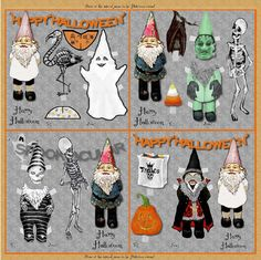 Printable Halloween Gnome Collection Treat Bag Tags and Haunted House