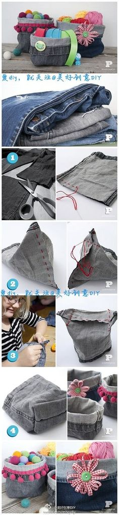 Old jeans, new storage boxes! It seems that everyone has a closet full of jeans that don't fit, but have worn patches and spots that make it impossible to donate. It's a waste to throw them out, but now you don't have to! Here is a craft that can be done by grown-ups and kids alike.