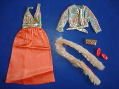 Barbie Doll Get-Ups 'N Go PARTY DRESS #7843 Gown & Fur Outfit Complete GUAG '74