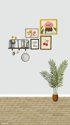 Download premium illustration of Picture frames on a gray wall sketch
