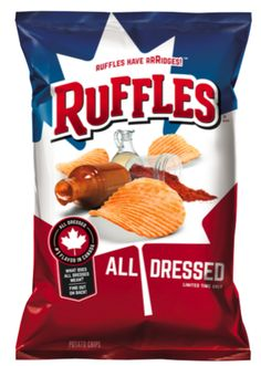 Features: Ruffles All Dressed Potato Chips, oz. Bag)Publisher: RufflesDetails: Ruffles All Dressed Available for only a Limited Time!Salty, Savory & Sweet - All at the Same Time!One ounce bagUPC: 0773821920672 Ruffles All Dressed, Ruffles Potato Chips, Canada Day Party, Vegan Party Food, Frito Lay, Gluten Free Oatmeal, Canadian Food, Chip Bags, Yummy Snacks