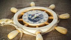 Clock Ship Wheel Wall Clock Wooden Ship Wheel Clock Wooden Boat Steering Wheel Decor Nautical Decor Nautical Decorations