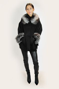 This gorgeous black wool and silver fox poncho is a stunning addition to your wardrobe. With silver fox trimmings around the collar and cuffs, this piece promo Collar And Cuff, Black Wool, Fox, Winter Jackets, Silver, Collection, Fashion, Moda, Winter Vest Outfits