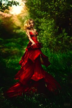 fairy tale fashion, red gown
