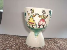 "Vintage Folk Art Dutch Couple 3 5/8"" Double Egg Cup Ceramic Made in Japan"