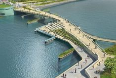 inFORM Studio delivers an impressive solution for a pedestrian bridge design in Rhode Island, with an uncommon twist they made better use of waterfront public space. Landscape Architecture Jobs, Villa Architecture, Architecture Magazines, Architecture Portfolio, Classical Architecture, Ancient Architecture, Sustainable Architecture, Architecture Diagrams, Landscape Architects