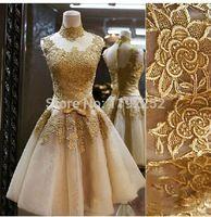 Sí naturales de espalda escotada del partido del oro 2014 de nueva venta real del cordón del vestido del regreso al hogar del partido corto bordado vestidos moderno
