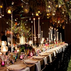 "Brides.com: A Glamorous, Rustic Wedding in Utah. The ""enchanted forest"" theme was aided by a 30-foot chandelier of fall foliage, a sod floor, and smoke machines that replicated dewy mist.  Browse more rustic reception ideas."