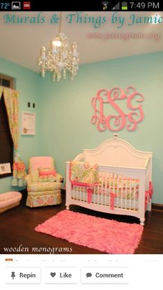 HUGE gallery of baby girl nursery pictures. Photos of baby girl nurseries filled with decorating ideas. Girl nursery decor and designs in all colors.Elegant, cute pictures of baby girl nurseries. Wood Monogram, Wood Letters, Baby Monogram, Wall Paint Colors, Room Colors, Color Walls, Everything Baby, My Baby Girl, Baby Girls