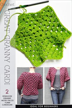 Hexagon granny cardi super easy fast and fun to crochet free pattern for hexagon granny motif Gilet Crochet, Crochet Coat, Crochet Jacket, Tunisian Crochet, Crochet Cardigan, Crochet Shawl, Easy Crochet, Crochet Clothes, Crochet Stitches