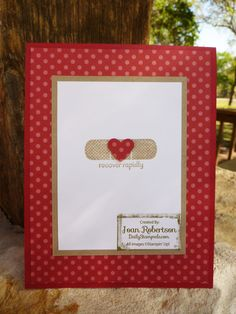 Clean & Simple card featured on Joan Robertson's Daily Stampede. Uses Riding Hood Red card stock and Patterns DSP Stack.