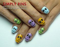 Colorful Skulls by Simply Rins - 25 Fun Halloween Nail Art Ideas Skull Nail Art, Skull Nails, Cute Nail Art, Cute Nails, Pretty Nails, Orange Nail Designs, Cute Nail Designs, Halloween Nail Designs, Halloween Nail Art