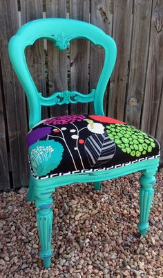 Quirky upholstery. Custom painted furniture. Three Sisters Design on Facebook.