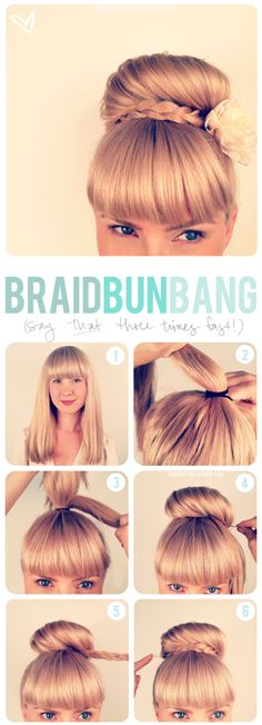 Easy top knot bun with a braid. Works if you have bangs or if you do not! #hairstyles